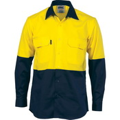 HiVis Cool-Breeze Vertical Vented Cotton Shirt - Long sleeve