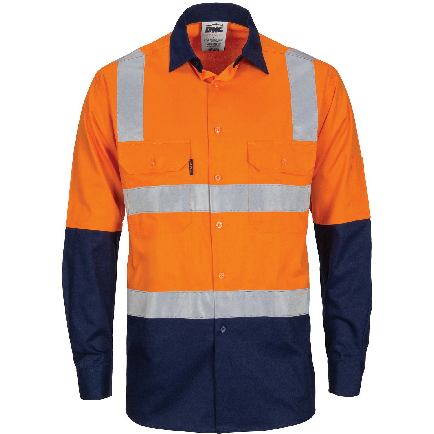 HIVIS Two Tone Cool-Breeze Cotton Shirt with Hoop & Shoulder CSR Reflective Tape - Long Sleeve