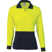 Ladies HiVis Two Tone Polo Shirt - Long Sleeve